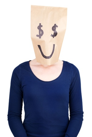 masquerading: a person with a happy dollar sign paper bag on its head, isolated Stock Photo
