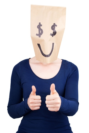 masquerading: a person with a happy dollar sign paper bag on its head showing thumbs up Stock Photo
