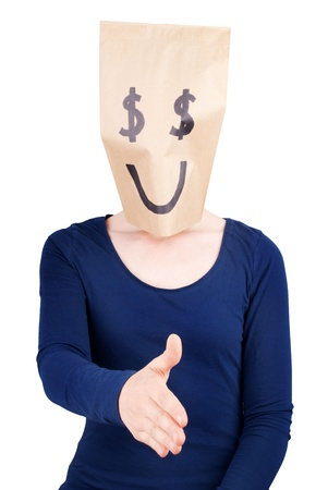 masquerading: a happy dollar sign paper bag with a person in handshaking gesture