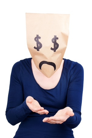 masquerading: a person with a desperate dollar sign paper bag on its head Stock Photo