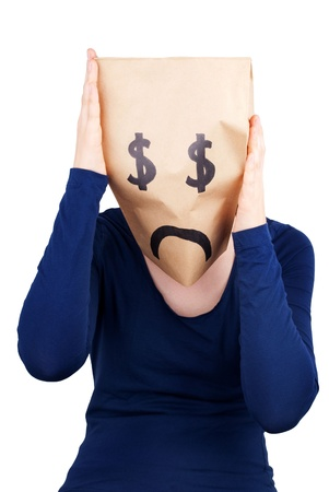 masquerading: a dollar paper bag head in desperation, isolated