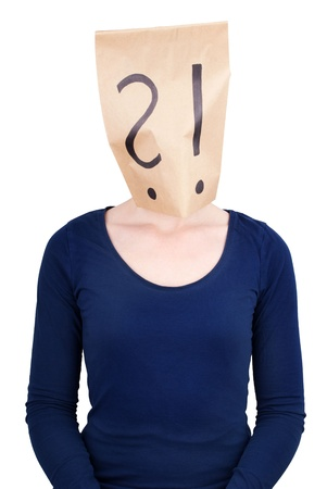 a person with a paper bag head on which are an question and an interrogation mark, isolated Stock Photo - 20465670