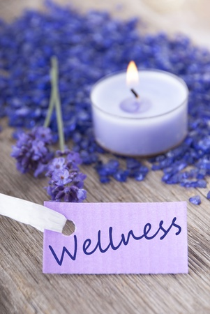 healthfulness: a wellness background with purple label on which stands wellness