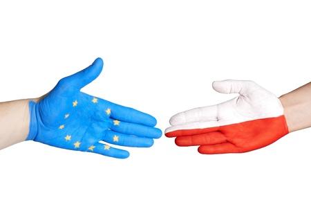 a european and a polish hand handshaking, on white photo