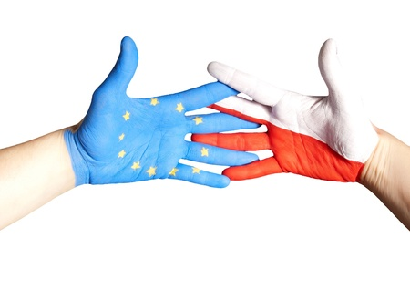 a handshake between europe and poland, isolated photo