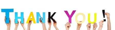 dank u: vele handen die de woorden dank u Stockfoto