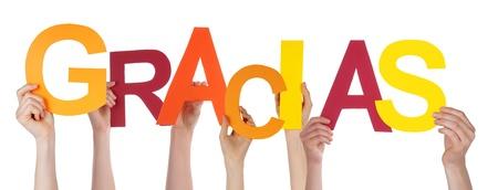 gratefulness: Muchas personas que posean la palabra espa�ola que significa Gracias Gracias, Aislado