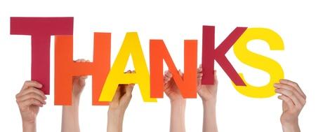 dank u: Personen Houd de Brieven Thanks, Geïsoleerde