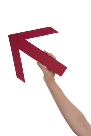 A Hand Holds a Red Arrow, Isolated photo