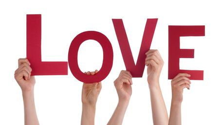 Many People Holding the Word Love, Isolated photo