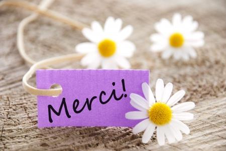 agradecimiento: Una etiqueta p�rpura con la palabra francesa que significa Merci Gracias Foto de archivo