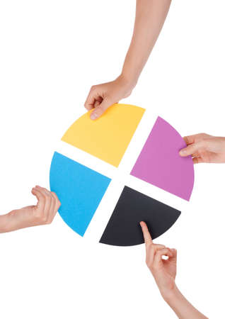 basis: Four Hands Holding Colorful Pieces of a Chromatic Circle, Isolated