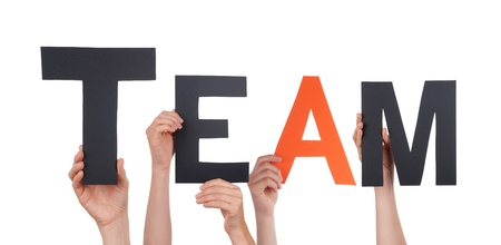 side job: People Holding a Black Team with one Orange Letter, Isolated Stock Photo