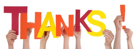 thankfulness: Many Hands Holding a Colorful Thanks with Interrogation Mark, Isolated