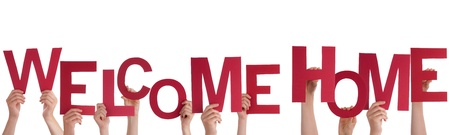 Many People Holding a Red Welcome Home, Isolated photo