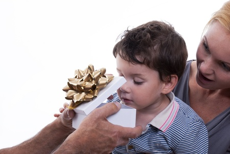 endow: A Child With Mother Opens Astonished a Gift Box, Isolated Stock Photo