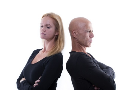 A Couple Which Argues or Is Mad and Unhappy, Isolated photo