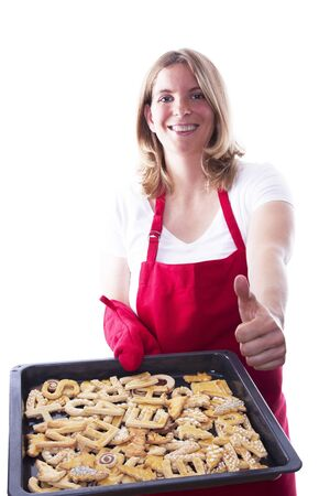 A Happy Woman With Lots of Cakes, Baking, Isolated photo