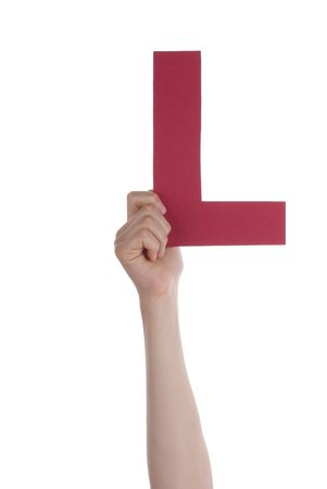 l hand: A Hand with a Red L, Isolated Stock Photo