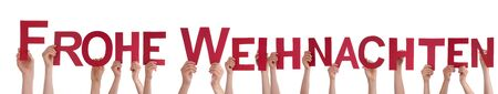 frohe: Many People Holding the German Words Frohe Weihnachten Which Means Merry Christmas, on White