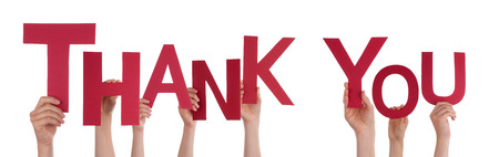 thanking: Many People Holding the Red Word Thank You, Isolated Stock Photo
