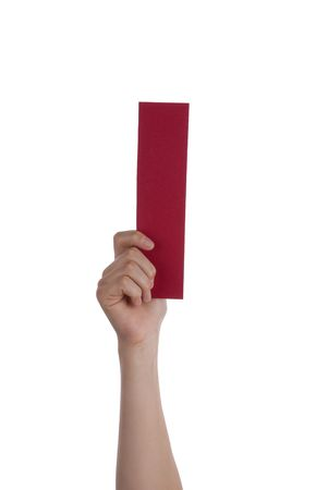 illiterate: A Hand Holds the Red Letter I, White Background Stock Photo