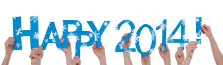 Many People Holding the Words Happy 2014, with Snowflakes and in Blue, Isolated Stock Photo - 23061766