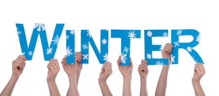winterly: Many Hands Holding the Winterly Word Winter with Snowflakes, Isolated