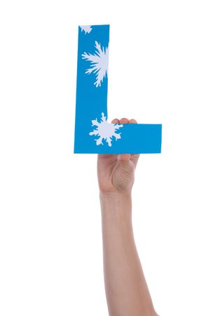 l hand: A Hand Holding the Blue and Snowy Letter L, Isolated