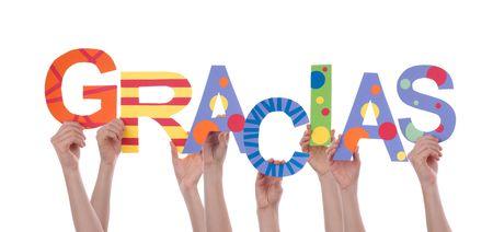 gratefulness: Muchas Manos que sostienen la Palabra espa�ol Colorful Gracias, lo que significa Gracias, aislado