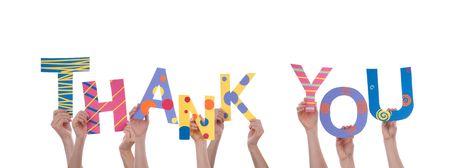 merci: Beaucoup de mains tenant un Colorful Merci, Isol�