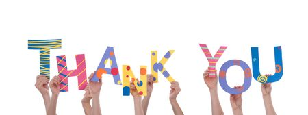 Many Hands Holding a Colorful Thank You, Isolated