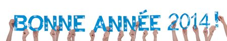 bonne: Many People Holding the Blue French Words Bonne Annee 2014 Which Means Happy New Year 2014, Isolated