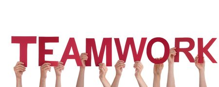 Many People Holding the Red Letters Teamwork Altogether, Isolated