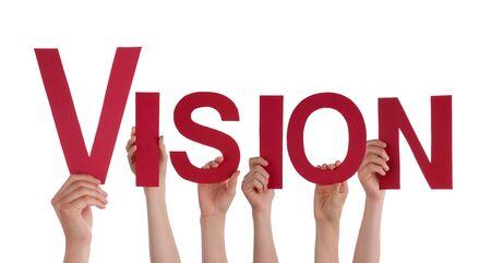 Handen met de rode Word Vision, geïsoleerd Stockfoto