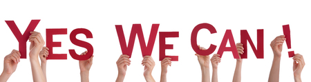 can we help: Many Hands Holding the Red Words Yes We Can, Isolated