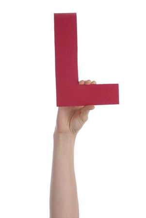 illiterate: Hand Holding a Red L, Isolated