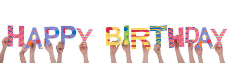 altogether: Many People Holding a Colorful Happy Birthday, Isolated
