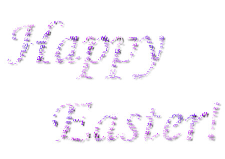 wishing: A Purple Written Happy Easter on a White Background