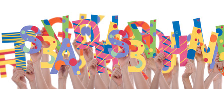 disarrangement: Letters in a Disarrangenment symbolizing learning and education, isolated