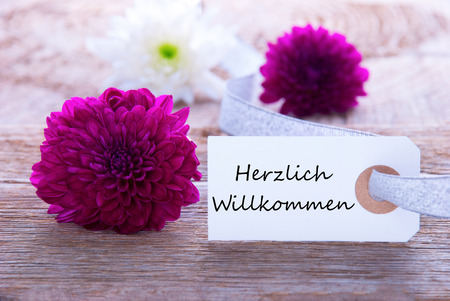 A Label with the German Words Herzlich Willkommen which means Welcome and Purple Flowers photo
