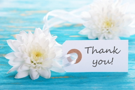 Turquoise Background with White Flowers and Thank You Label photo