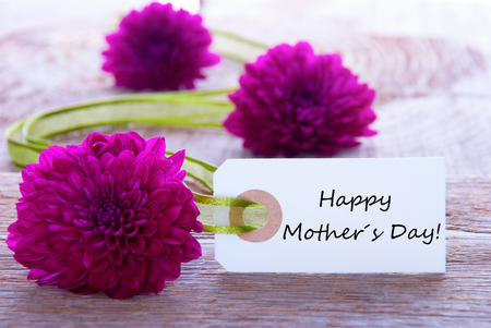 your text: Label with Happy Mothers Day and Purple Flowers and Green Ribbon Stock Photo