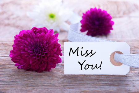 Label with Miss You and Flowers as Background photo