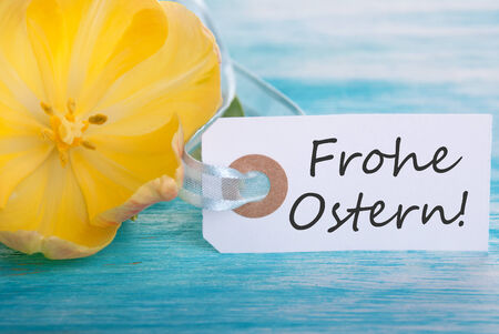 Ostern: Banner with the German Words Frohe Ostern which means Happy Easter