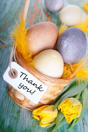 Easter Nest with Eggs and Label with Thank You photo