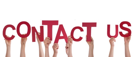 contact us business: Many Hands Holding the Red Words Contact Us, Isolated