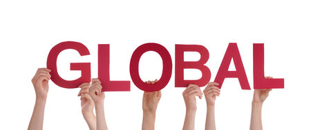 Many People Holding red Letters Building the Word Global, Isolated photo