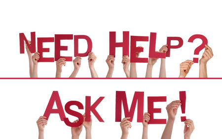 education help: Many Hands Holding the Words Need Help, Ask Me, Isolated Stock Photo