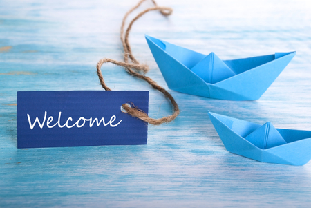 Welcome Tag with Boats, blue Nautical  photo
